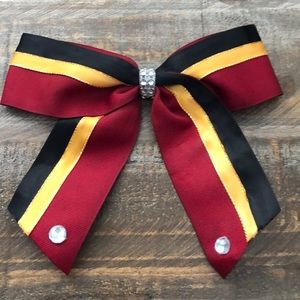 Accessories - Red black and yellow hair bow (clip on ) cheer bow